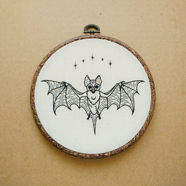Flying Bat Hand Embroidery Hoop Art (tattoo modern hand embroidery wall hanging) by ALIFERA on Etsy
