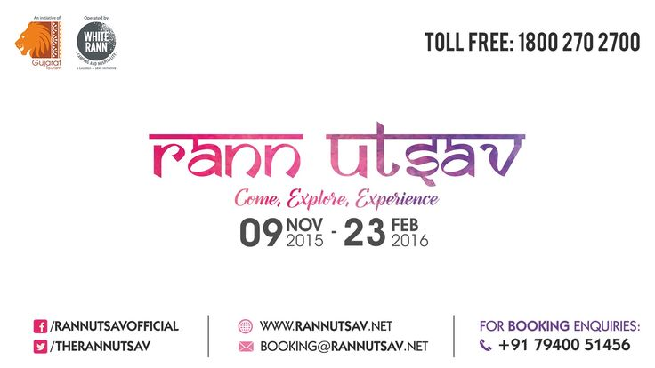 Rann Utsav is back with a bang, Come Explore & Experience White Rann from 18th November to 23rd February. Discover packages & tariffs and book your trip...  For Booking Call: 1800 270 2700 or Visit www.rannutsav.net
