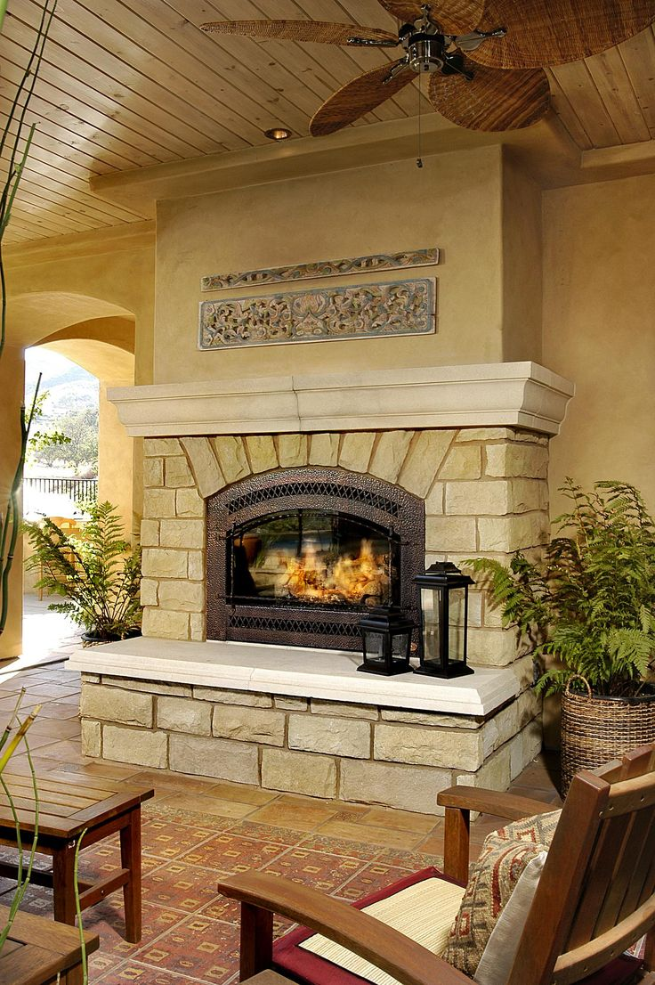 Bungalow the kitchen outdoor living space stone textile at home - Light Stone Outdoor Fireplace In Outdoor Living Area