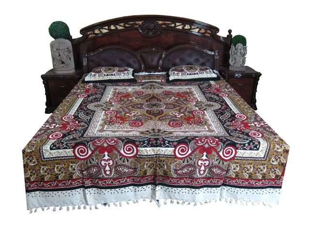 3pc Indian Boho Red Black Bedding Cotton Paisley Bedroom Decor