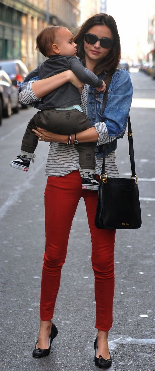 perfect red jean jacket outfit 13