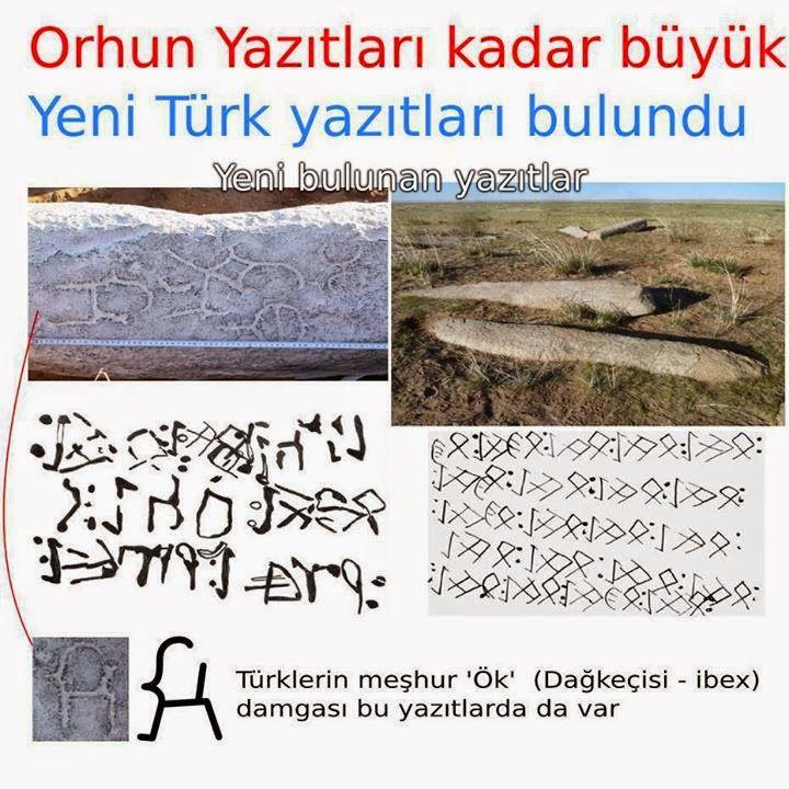 Moğolistan'da bulunan Orhun kitabeleri kadar büyük yeni Türk Yazıtları.