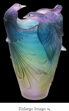 "Daum Crystal Bird of Paradise Jewel Vase / Each Daum Crystal art work creation is signed with ""Daum France"" and numbered by hand. Every Daum piece we sell is brand new in the original box with all paperwork, first quality. Since 1878 Daum have been crafting world-renowned beauty in lead crystal using rare and ancient techniques /35245/"