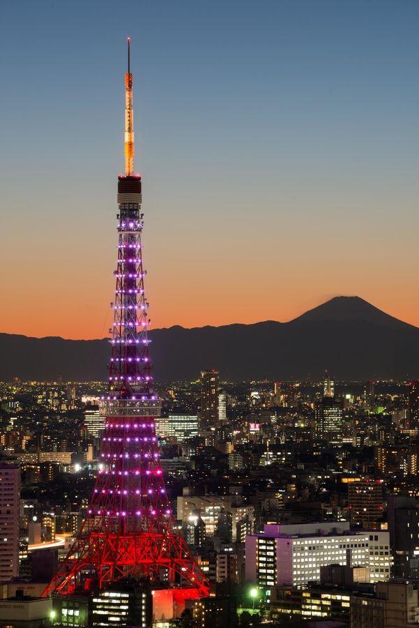 """Tokyo Tower and Mt. Fuji"" by Ichiro Goshima, via 500px."