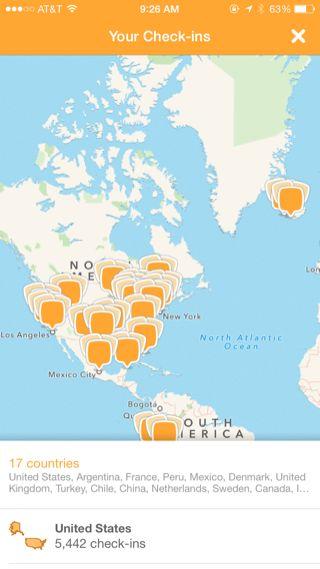 Swarm iPhone user profiles, maps screenshot