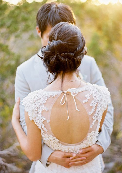 Such beautiful bridal hair! And that dress!