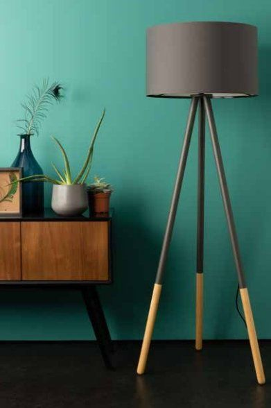Zuiver Stehlampe Highland aus Metall/Holz, dunkelgrau