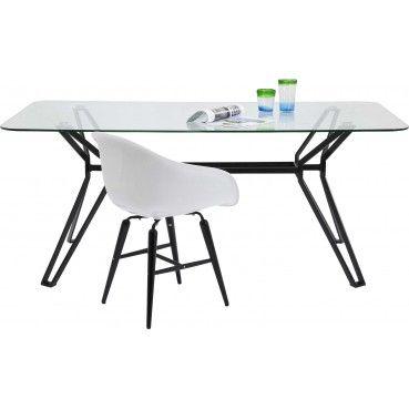Voici une #table à la fois moderne et futuriste ! Son plateau en verre-sécurité et ses pieds très stylisés de forme géométrique se complètent parfaitement et se marient avec tous les intérieurs  Table Garbo rectangulaire 180x90 #Kare #Design