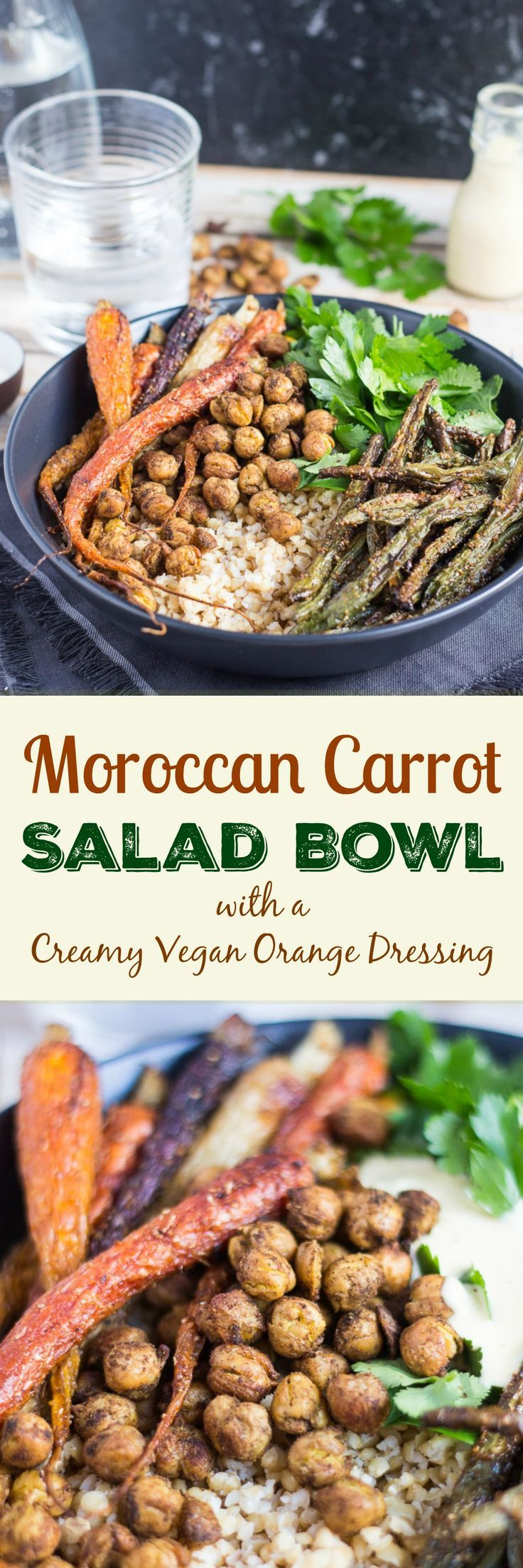 Moroccan Carrot Salad Bowl. Spiked with a creamy vegan orange dressing & crunchy spiced chickpeas for maximum flavour.