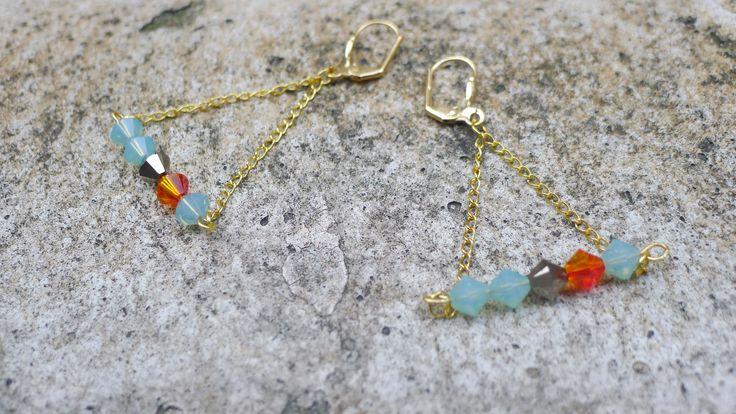 Boucles d'oreilles en perles de cristal Swarovski par Elisabeth de Sagazan