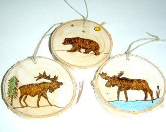 Berk segment Kerst ornamenten-hout verbrand Wildlife ornamenten-rustieke boom segment ornamenten