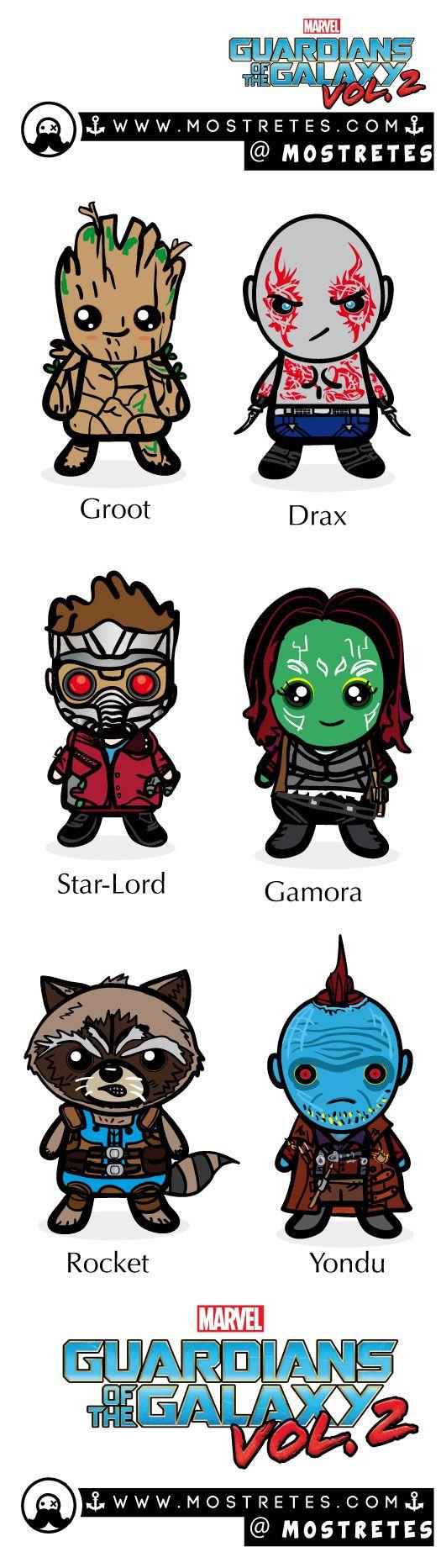 Guardianes de la galaxia 2, personajes ilustrados en el formato mostretes. groot, drax, starlord, gamora, Rocket, y Yondu #guardianesdelagalaxia
