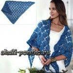 Синяя шаль из журнала Love of Crochet – Summer 2015 связана крючком № 5,5 из 400 г пряжи (100% мериносовая шерсть; длина 274 м/ 100 г). Размер шали 168 х 86 см.