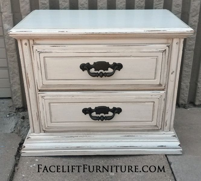 Materials Distressed And Glazed: Nightstand In Distressed Antiqued White With Tobacco Glaze