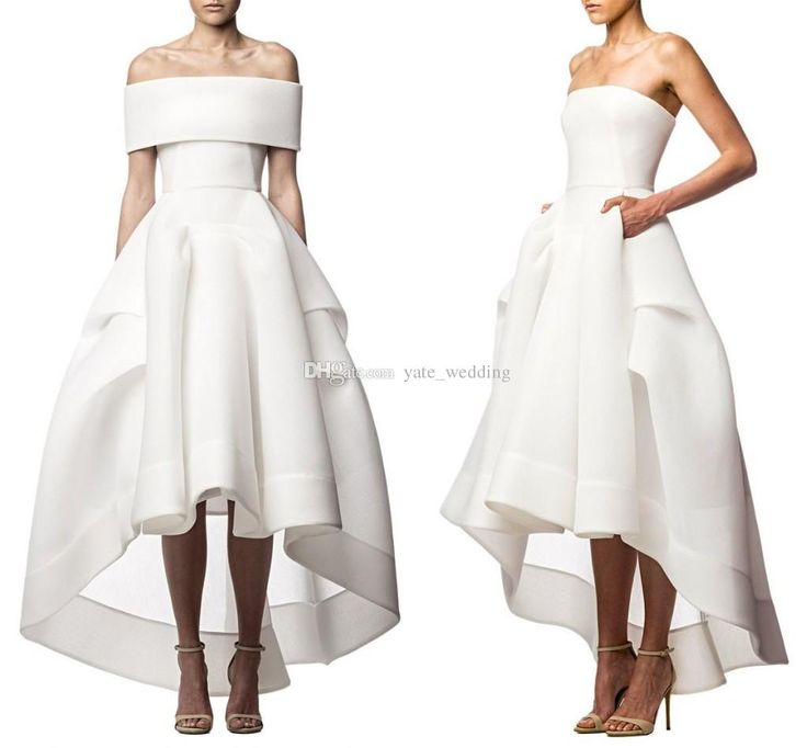 Two Piece White Evening Dresses 2015 Strapless Pick Up Satin Tea Length Backless Hi Lo Prom Dresses Short Party Dresses With Wrap 2016 Ladies Formal Dresses Long Dress Online From Yate_wedding, $85.38| Dhgate.Com