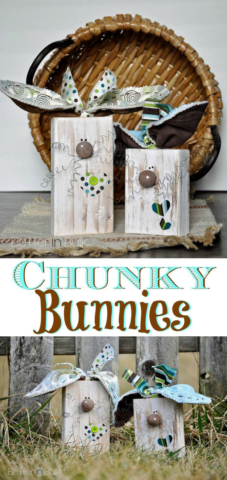 What a FUN DIY Spring craft project! These Chunky Bunnies are really EASY to make with 2x4 pieces of wood and scraps of fabric. Think they look too fancy? You'd be surprised to find out how easy they really are!