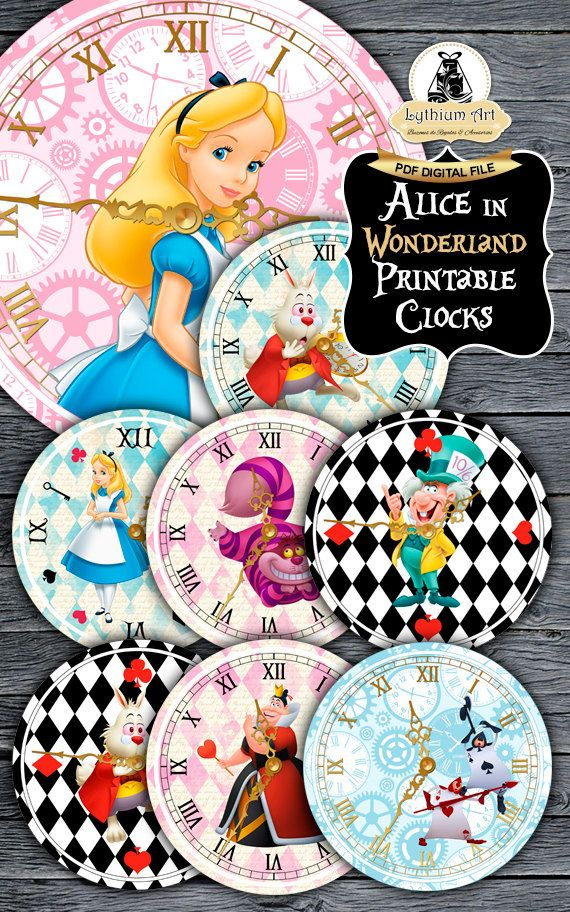 Alice in Wonderland Clocks - Printable Clocks - Disney Alice - Alice in Wonderland Party - Alice in Wonderland Printables - Alice Decoration de LythiumArt en Etsy