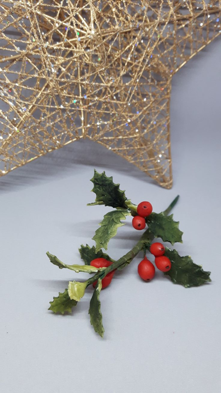 Holiday Traditional Holly Cake Topper Decoration by GateauPrestige on Etsy