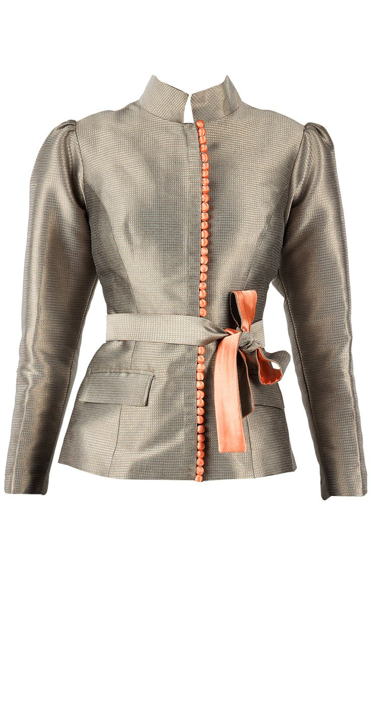 Grey and gold brocade jacket with belt available only at Pernia's Pop-Up Shop.
