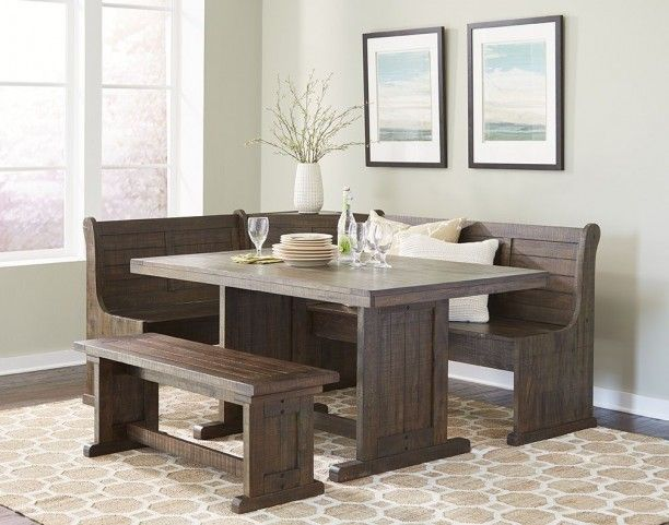Homestead Tobacco Leaf Breakfast Nook Set In 2021 Nook Dining Set Breakfast Nook Table Dining Table With Bench