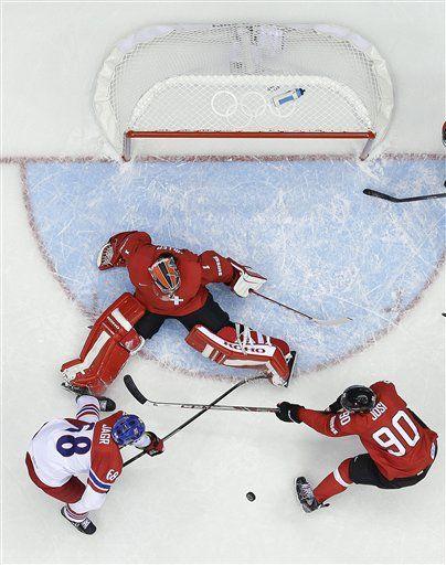 Sochi Olympics Ice Hockey Men(feb15,2014,AP) Hiller shuts out Czechs, Switzerland wins 1-0