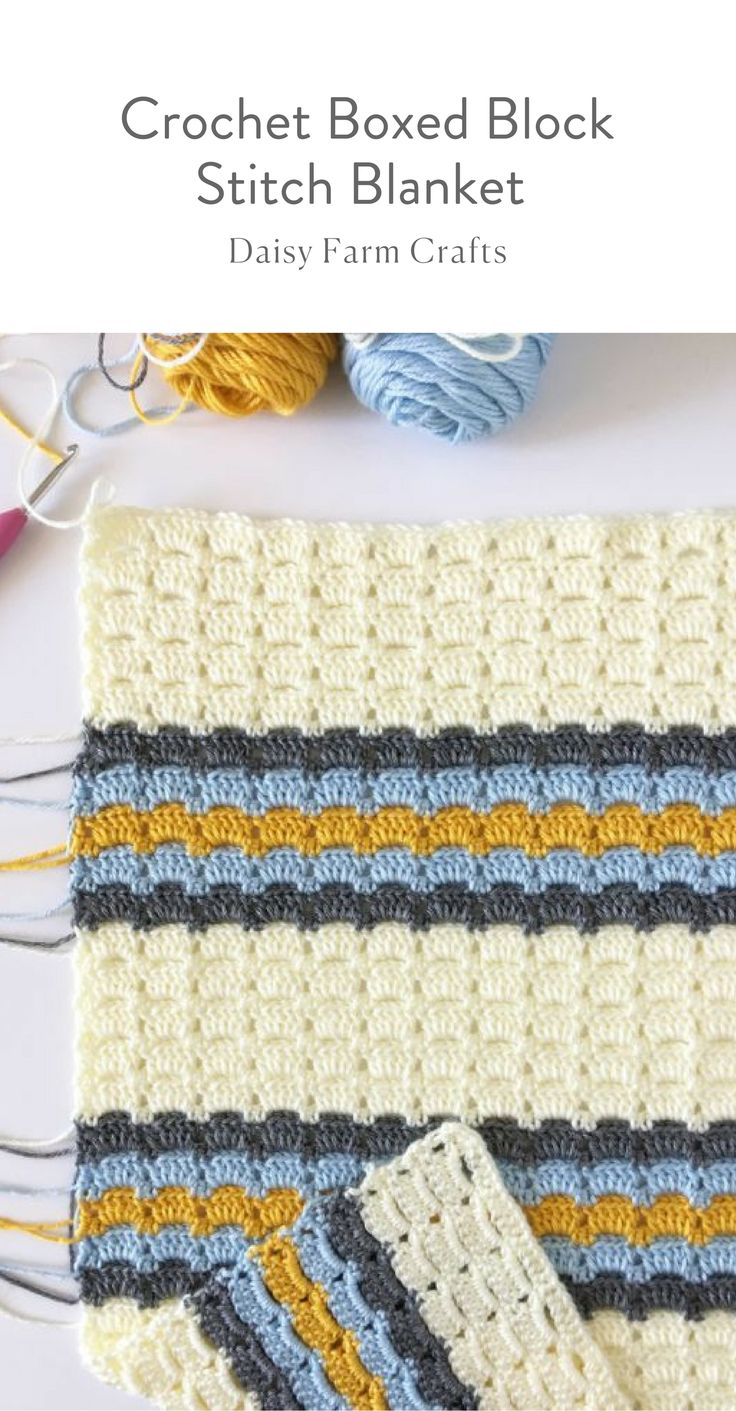 Free Pattern – Crochet Boxed Block Stitch Blanket #crochetbabyblanket #crochetp…