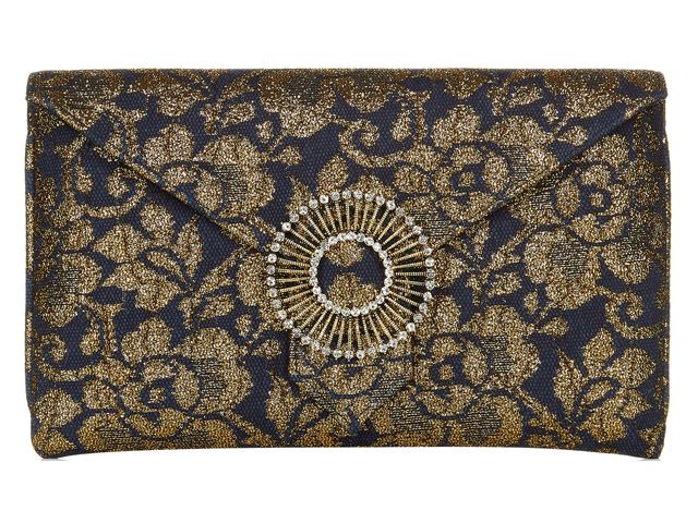 An elegant Edith Navy Lace envelope clutch bag from Wilbur & Gussie. This bag has been beautifully designed with a navy and gold lace floral fabric and has a jewel encrusted brooch. Bag has an optional wrist strap, inner pocket and magnetic fastening. View more bags from our Wilbur & Gussie Collection at: http://www.baroqueboutique.co.uk/wedding-shoes-and-accessories/