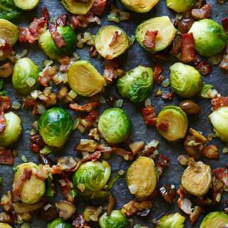 STIR FRIED BRUSSELS SPROUTS WITH BACON AND CHESTNUTS, a delicious recipe from the new Cook with M&S app.