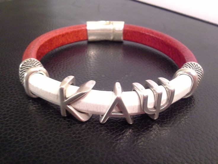 Divine 9 KAPPA ALPHA PSI Greek Letter silver slider Fraternity Bracelet Leather