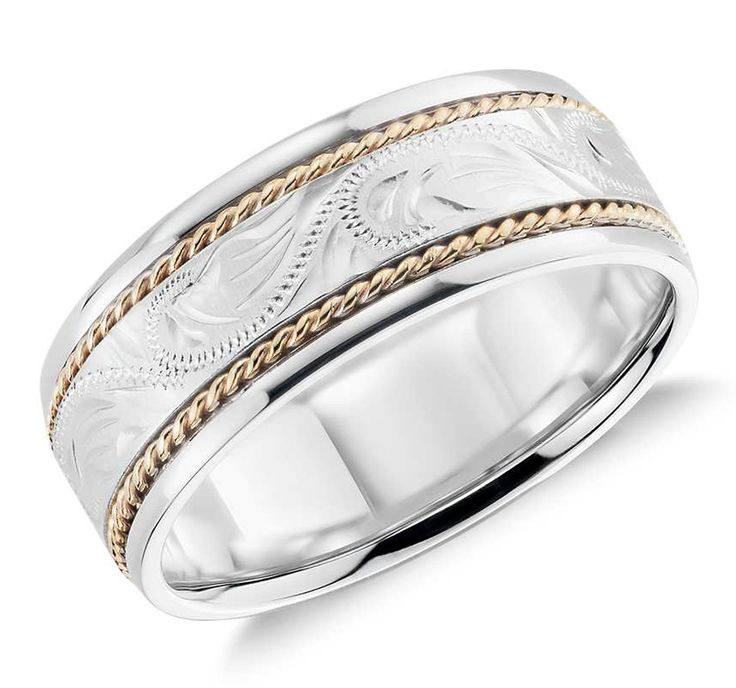 Two Tone Paisley Wedding Ring in 14k white gold and yellow gold, $940, Blue Nile available at bluenile.com.