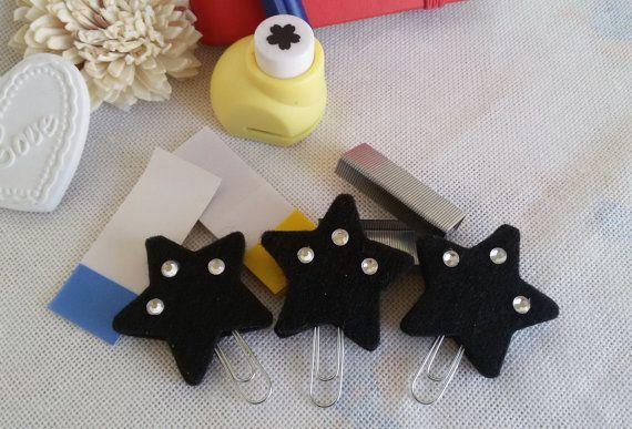 3 Felt stars bookmarks black planner clips felt by Rocreanique on Etsy