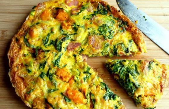 Kumara, Spinach and Bacon Fritatta