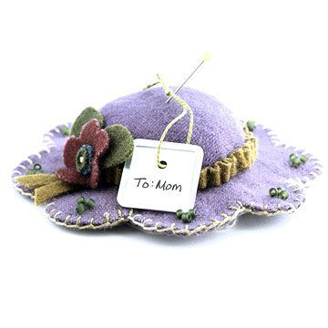 """Wool hat Pincushion free pattern - I remember making these when I was a little girl.  We used paper towel cardboard cut down to about 1.5"""" as the top form and we stuffed the inside of it."""