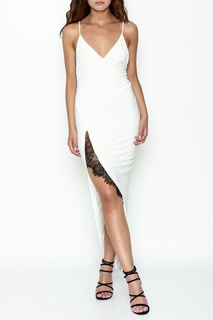 Deep v cut white dress with a black lace outlined slit. High Slit Dress by Day & Night. Clothing - Dresses - Midi Pennsylvania