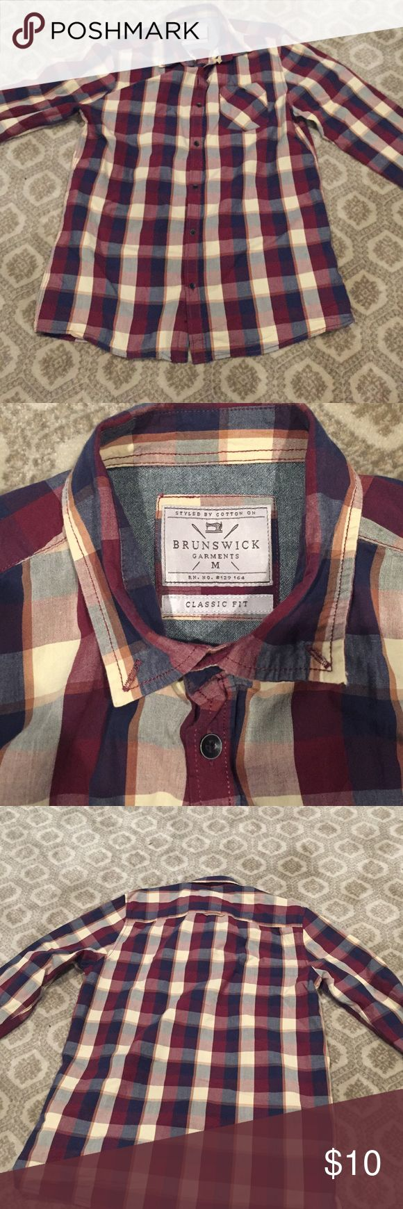 Flannel shirt It's a red cream and blue flannel shirt.  It is thin material and very breathable.  Amazing look for the summer! Cotton On Shirts Casual Button Down Shirts