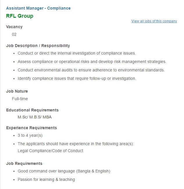 Career - RFL Group - Assistant Manager - Compliance VACANCY - assistant manager job description
