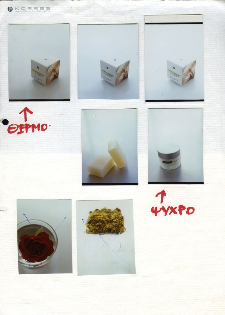 Contact sheet of early KORRES packaging with hand-written notes by one of the brand's creative directors / 2000