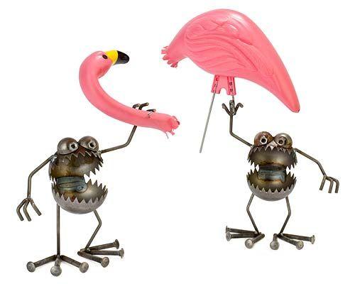 !!!monsters!!!Gardens Sculpture, Lawns Ornaments, Gardens Decor, Pink Flamingos, Fred Conlon, Gnomes, Flamingos Away Sculpture, Post Metals, Flamingoaway Sculpture