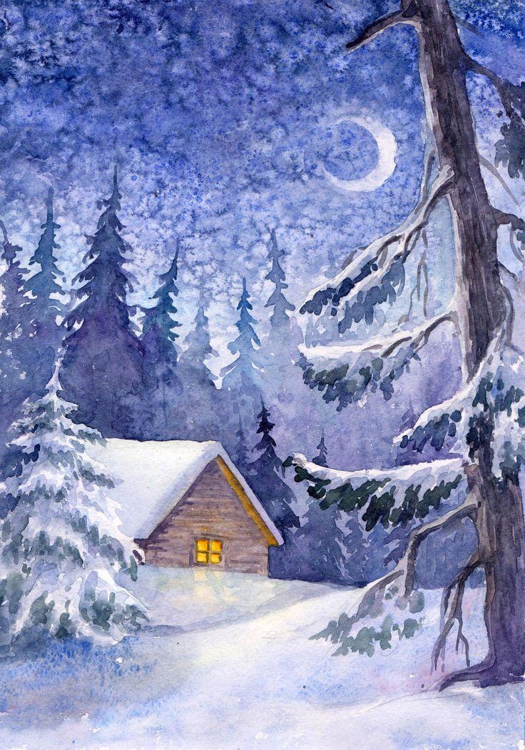 картинки зимние пейзажи рисовать свою очередь