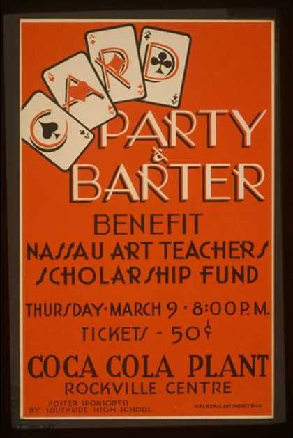 Party & barter – benefit Nassau art teachers scholarship fund – Coca Cola Plant, Rockville Centre. (1939)