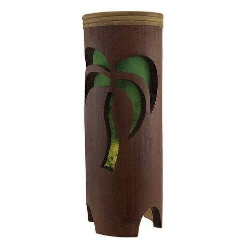 Tropical Palm Tree Silhouette Brown Bamboo Table Accent Lamp