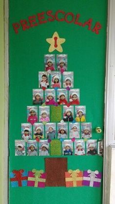 Christmas classroom door decoration with children's photos making up the tree.  Cute!