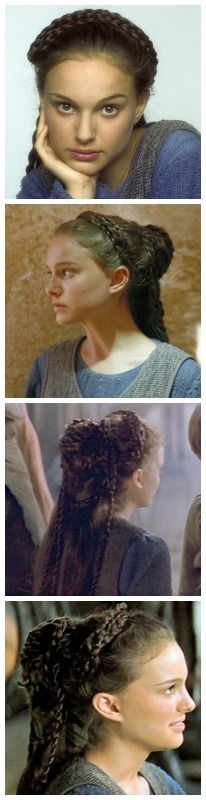 Padme tatooine hairstyle - The Phantom Menace. I can actually do this with my own hair! Sort of. My hair is long and thin, so if I did all the braids, it wouldn't have the same effect. Mine is a simplified version.