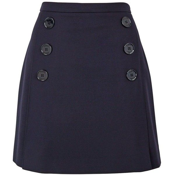 Sonia By Sonia Rykiel Buttoned Sailor Skirt ($175) ❤ liked on Polyvore featuring skirts, mini skirts, navy, sailor skirt, blue mini skirt, navy skirt, button skirt and blue skirt