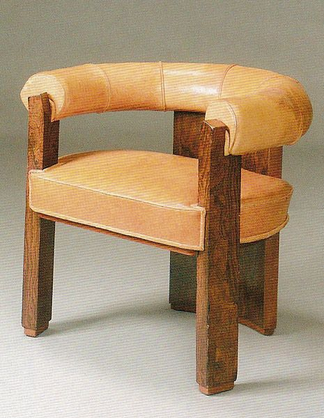 Robert Mallet Stevens; Wood And Leather Chair, C1930.