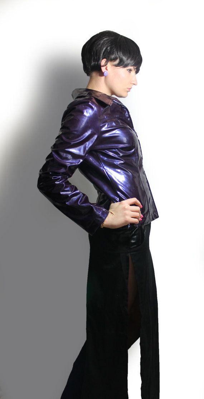 Shiny Purple PVC Fitted Jacket 90's Vintage Goth Rave Wet Look Dark Purple Metallic Zip Up Outerwear Women's Size Medium $40.00