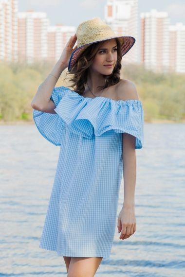 Платье с воланом, в голубую крупную клетку
