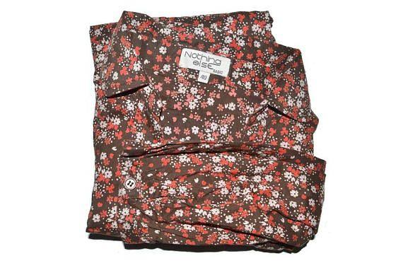 Vintage Brown Floral Button Up Blouse Womens Cotton Shirt 3 4