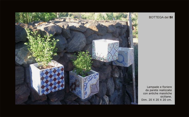 """Lamps and planters made with original sicilian old maiolica tiles. Do you like? Take a look at my facebook page """"Bottega del SI"""". #lamp, #tiles, #majolica."""