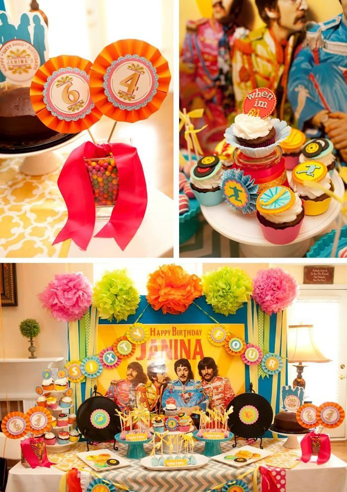 "Beatles ""When I'm 64"" Birthday Party with So Many Really Cute Ideas via Kara's Party Ideas 